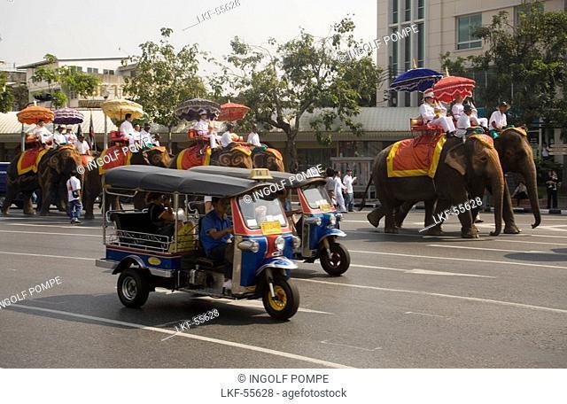 Buddhist Procession at Democracy Monument, Bangkok, Thailand