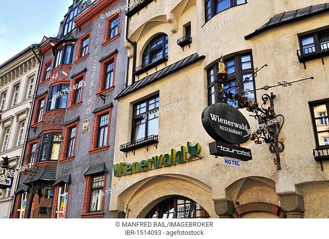 Facades and the 'Wienerwald' restaurant in the Herzog-Friedrich-Street, Innsbruck, Tyrol, Austria, Europe