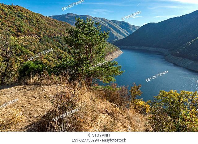 Autumn landscape of forest around Vacha (Antonivanovtsy) Reservoir, Rhodopes Mountain, Bulgaria