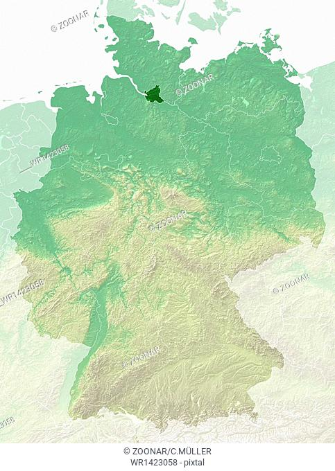 Hamburg - topographical relief map Germany