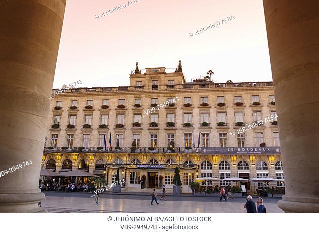 Grand Hotel de Bordeaux. Historic center, Bordeaux. Aquitaine Region, Gironde Department. France Europe