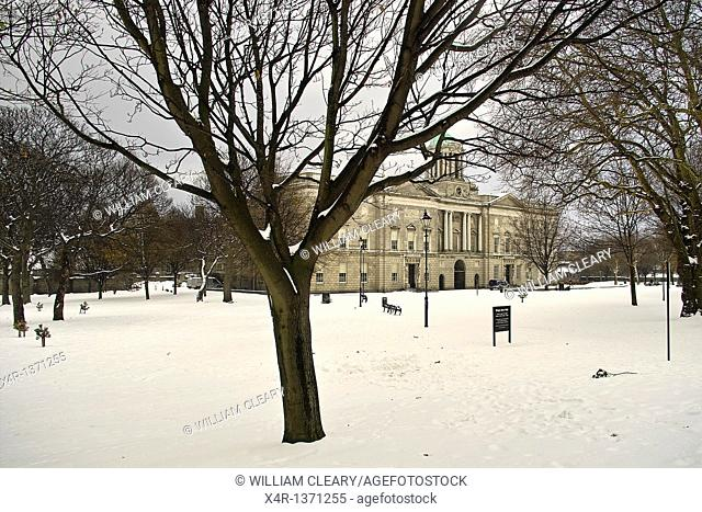 The grounds of Kings Inns in Dublin, Ireland, covered in a fresh fall of snow. The Kings Inns is the training college for barristers in Ireland