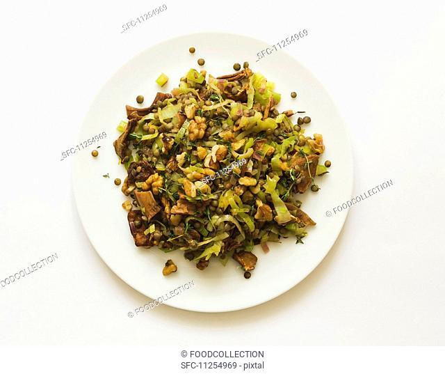 Wild mushroom salad with lentils, leek and walnuts