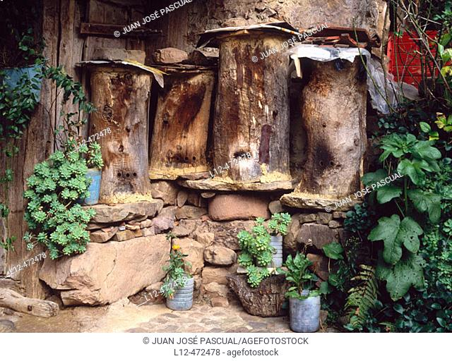 Traditional beehives, Bárcena Mayor. Cantabria, Spain