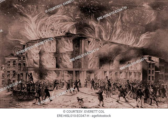 A mob set fire to the Pennsylvania Hall, the Philadelphia meeting place of the Abolition Society and women's suffrage groups, on May 17, 1838