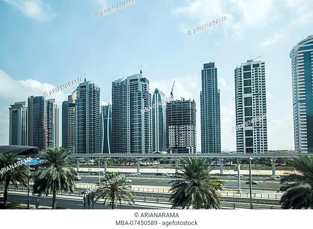 Futuristic view of Sheikh Zayed Road, a big highway in Dubai and a metro station, Dubai, United Arab Emirates