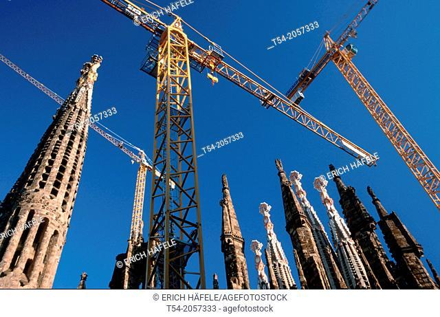 Construction cranes at the Sagrada Familia in Barcelona