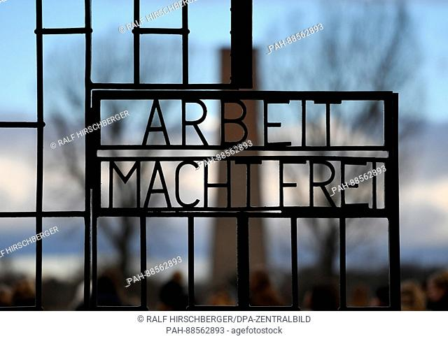 The iconic 'Abeit macht Frei' (work sets you free) on the gates on the grounds of the former concentration camp in Oranienburg, Germany, 28 February 2017