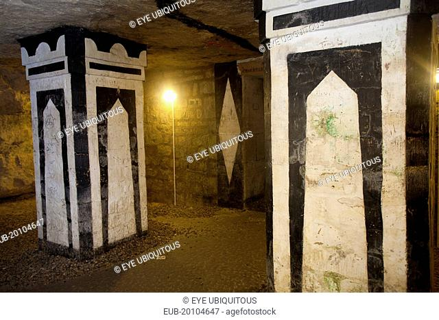 Denfert Rochereau One of the rooms of the Parisian underground catacombs