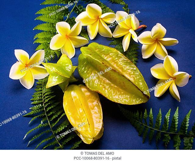 Studio shot of starfruit and flowers