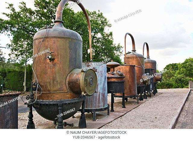 Big metal containers at perfume factory yard, Grasse, French Riviera, France