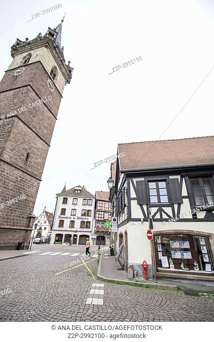 Medieval architecture in Obernai on May 14, 2016 in Alsace France. The chapel tower