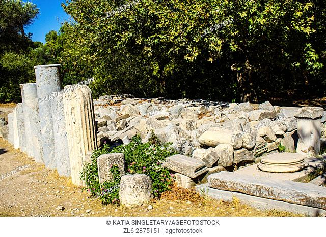 Ruins, remains of old temple at the acropolis in Athens, Greece