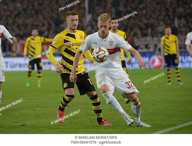 Dortmund's Marco Reus and Stuttgart's Timo Baumgartl fight for the ball during the German Bundesliga match VfB Stuttgart vs Borussia Dortmund in Stuttgart