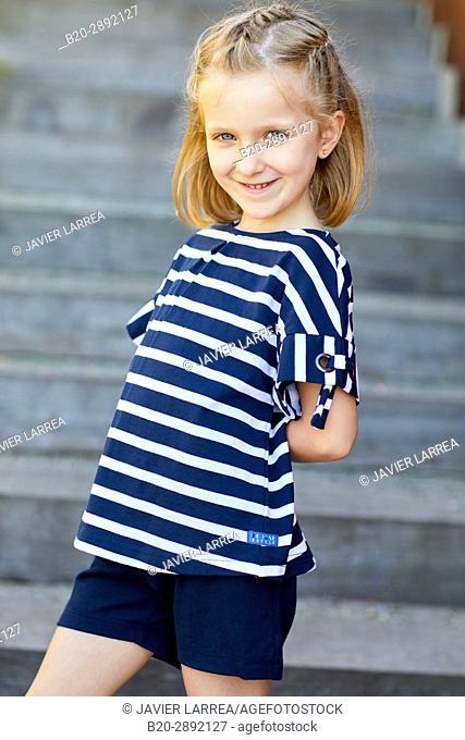 Girl, Mollarri Interpretation Center, Marine clothing, Zarautz, Gipuzkoa, Basque Country, Spain, Europe