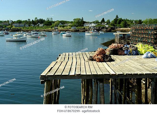Corea, ME, Maine, Schoodic Peninsula, fishing harbor, lobster traps