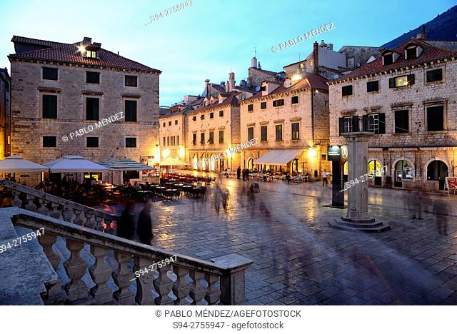 Stairway and square in Placa street (Ulica), Dubrovnik, Croatia