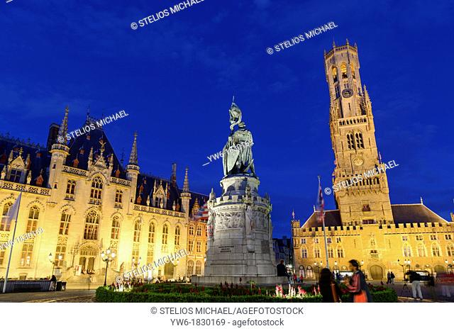 Statue of Jan Breydel and Pieter de Coninck with Belfry and Provincial Government Palace,Market Square, Bruges,Belgium