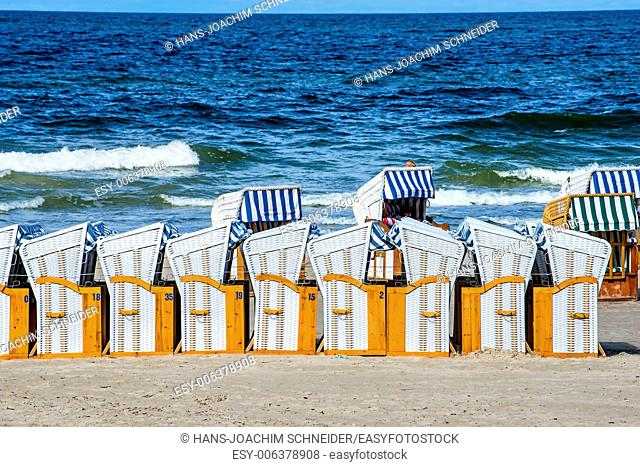 beach chairs at the Baltic Sea in Poland
