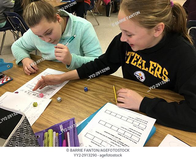6th Grade Girls Working on Math Problem, Wellsville, New York, USA