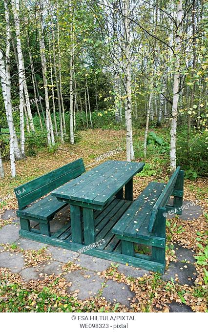wooden table with benches in park Finland Europe