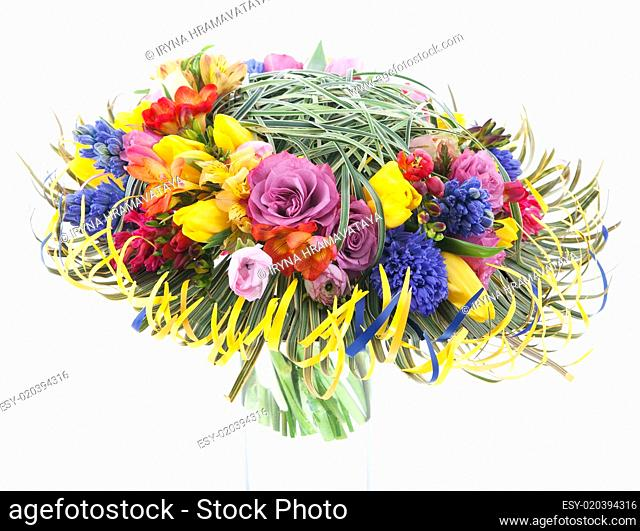 Floristry - colorful bridal bouquet of fresh flowers