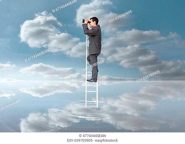 Elegant businessman standing on ladder with binoculars over a puddle on blue sky background