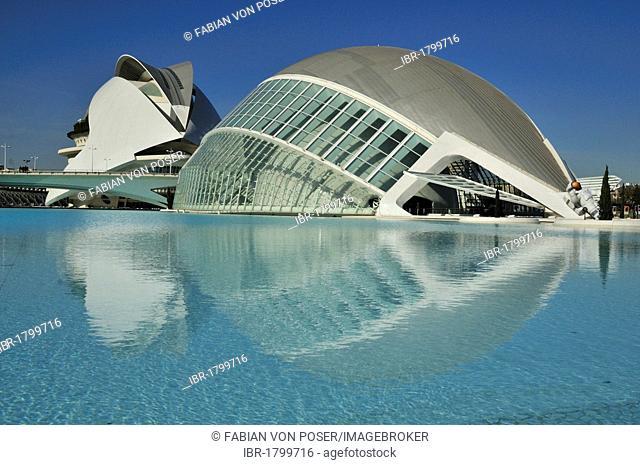 Palau de les Arts Reina Sofia, opera building at back, and L'Hemisferic, Imax cinema and planetarium at front, Ciudad de las Artes y las Ciencias