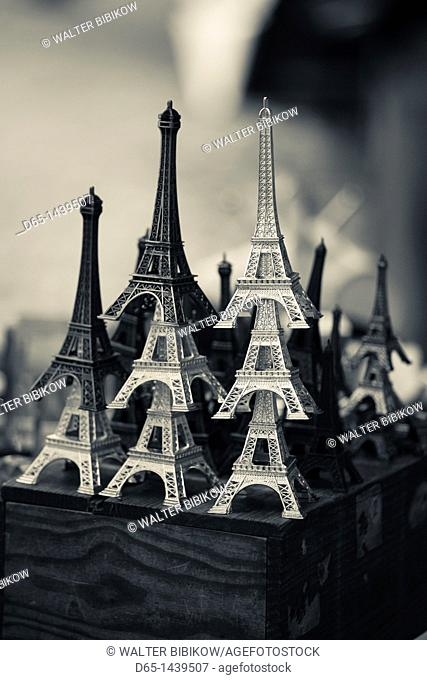 France, Paris, Left Bank, souvenir Eiffel Towers