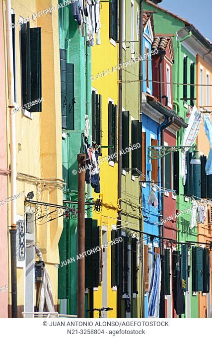Houses in Burano, Venice, Veneto, Italy