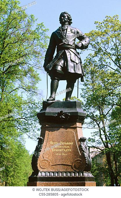 Statue of Peter I the Great in Kronstadt. St Petersburg, Russia