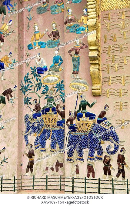 Mirrored mosaics at the Reclining Buddha shrine Red Chapel, Wat Xieng Thong, Luang Prabang, Laos