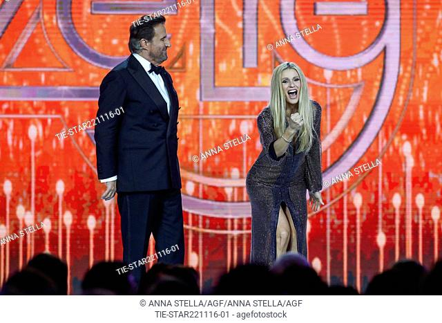 The actor Christian De Sica with the showgirl Michelle Hunziker at tv programme Zelig, Milan, ITALY-22-11-2016
