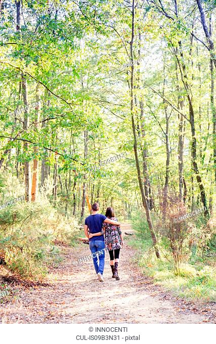 Rear view of couple walking on tree lined path