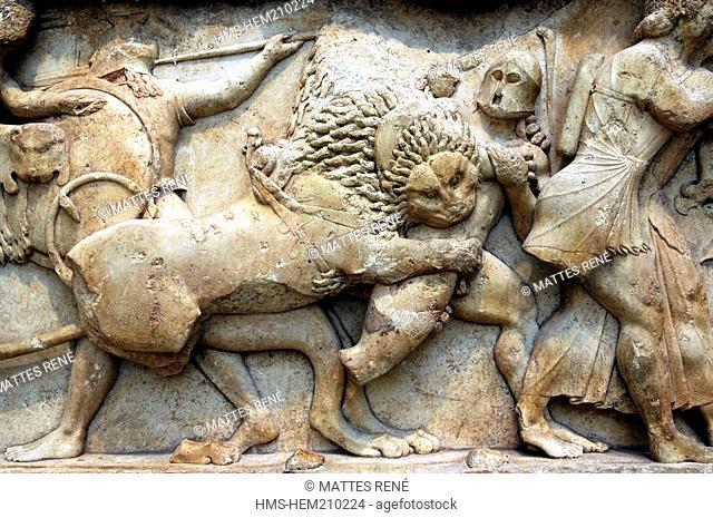 Greece, Phocis, Delphi, archaeological museum, Siphnian Treasury, northern frieze, Gods fighting against Giants
