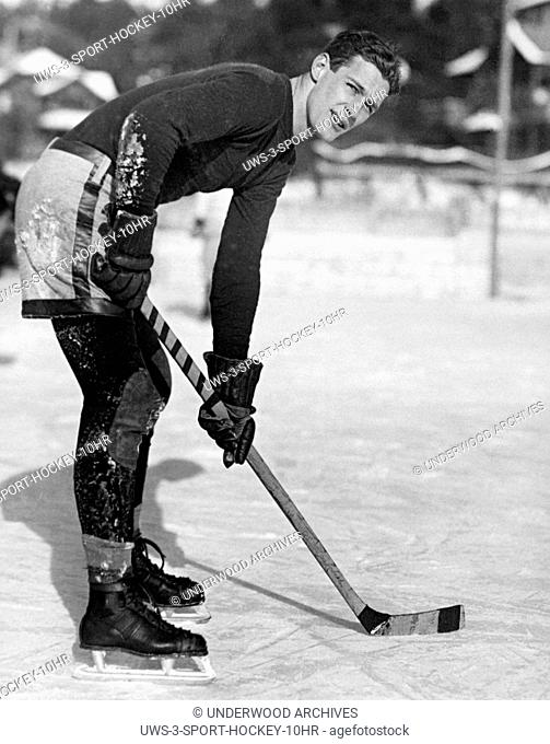 Lake Placid, New York: January 1, 1926.A portrait of L. Noble of the Yale hockey team which defeated Williams College during the past week of winter games at...