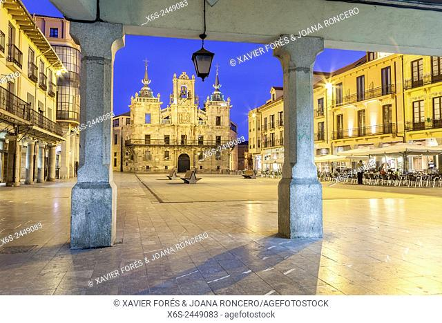 Townhall and Mayor Square in Astorga, Way of St. James, Leon, Spain