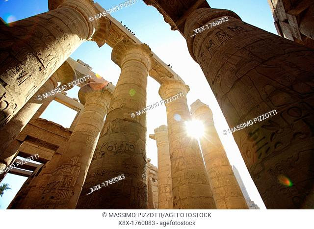 The great hypostyle hall in the Precinct of Amun Ra, Karnak Temple Complex, Luxor, Egypt