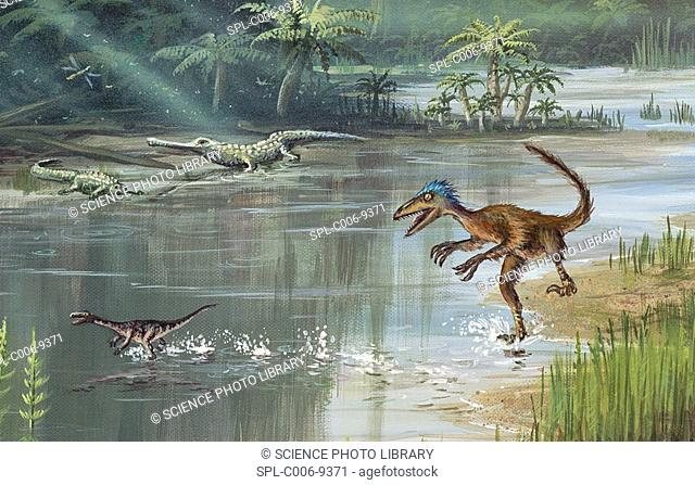 Jurassic life. Computer artwork of a forest with prehistoric creatures that existed during the Jurassic Period 200 to 145 million years ago in what is now North...