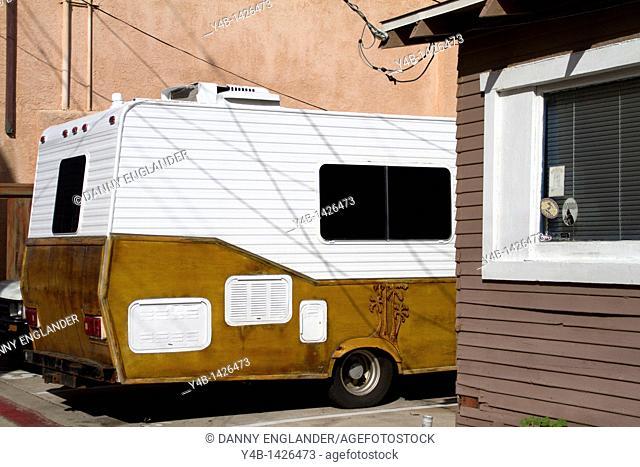 Trailer Camper in an alleyway, Pacific Beach, San Diego, California