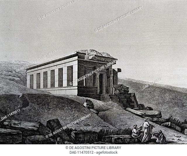 Temple south of Elephantine island, engraving from the Description de l'Egypte, ou Reports of observations et des recherches here ont ete faites en Egypte...