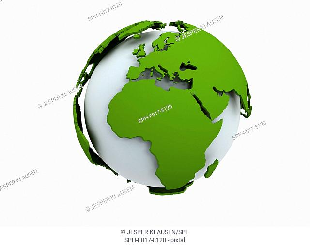 White globe with green continents, illustration