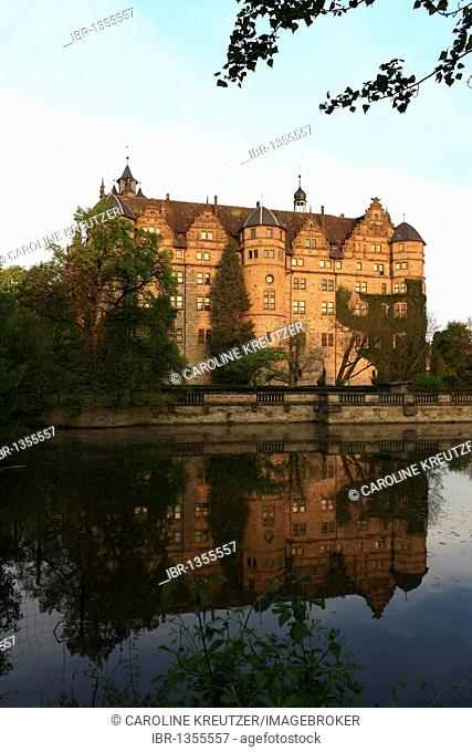 Neuenstein Castle, originally a moated castle of the Hohenstaufen period, location of the Hohenlohe Central Archives, Neuenstein, Hohenlohe, Baden-Wuerttemberg