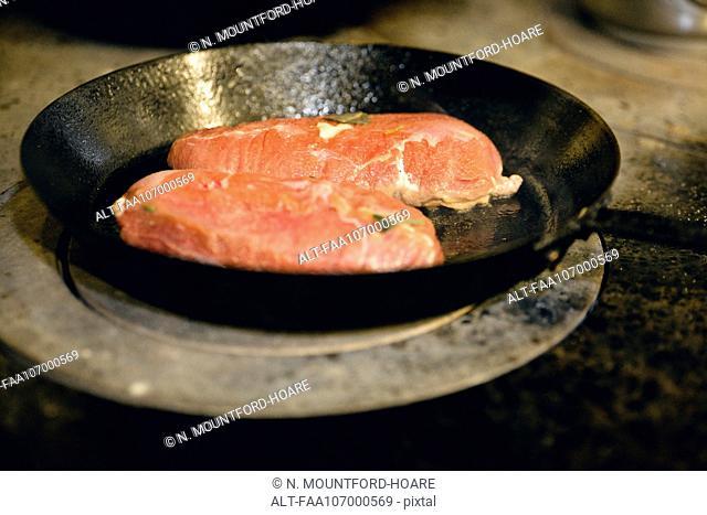 Pan frying pork chops