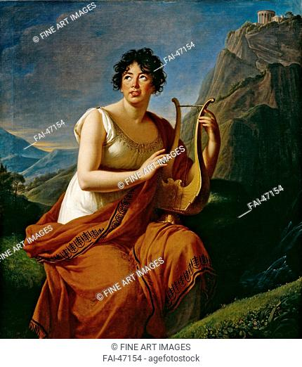 Portrait of the author Baronne Anne Louise Germaine de Staël (1766-1817) as Corinne on Cape Misenum by Vigée-Lebrun, Marie Louise Elisabeth (1755-1842)/Oil on...