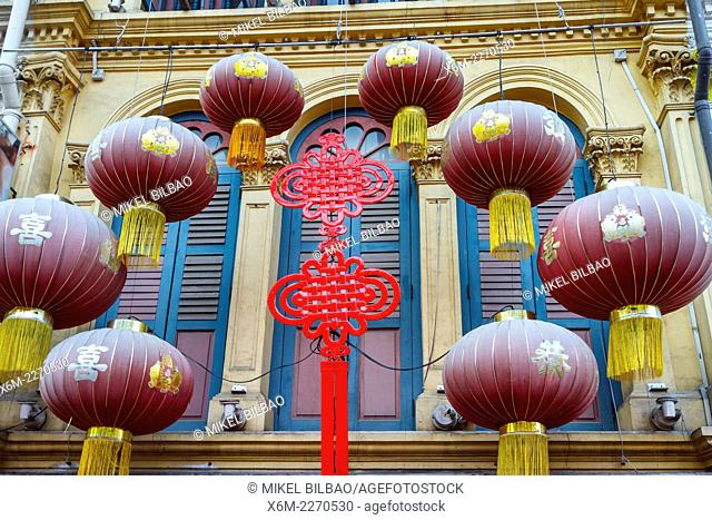 Ornamental detail. Pagoda Street. Chinatown district. Singapore, Asia