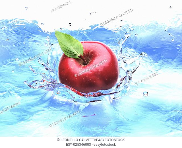 Red apple with leaf, splashing into water. bird eye view