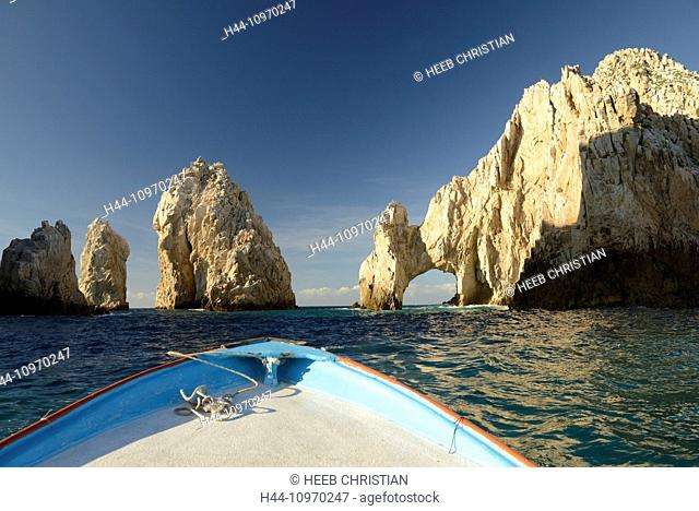 Mexico, North America, Baja, Baja California, Cabo San Lucas, los cabos, lands end, el arco, arch, sea, landscape, rock, cliff, boat