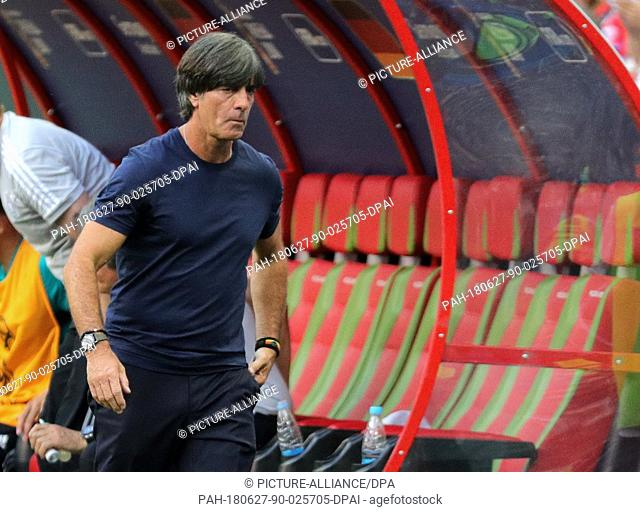 27 June 2018, Russia, Kazan: Soccer, FIFA World Cup, group F preliminary, Germany vs South Korea at the Kazan-Arena. Germany's trainer Joachim Loew