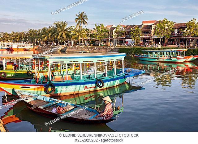 Boats on the Thu Bon River. Hoi An Ancient Town, Quang Nam Province, Vietnam